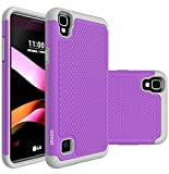 LG Tribute HD Case, LG Volt 3 Case, LG X Style Case, OEAGO [Shockproof] [Impact Protection] Hybrid Dual Layer Defender Protective Case Cover for LG Tribute HD / LG Volt 3 / LG X Style - Violet