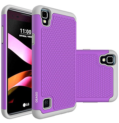 LG Tribute HD Case, LG Volt 3 Case, LG X Style Case, OEAGO [Shockproof] [Impact Protection] Hybrid Dual Layer Defender Protective Case Cover for LG Tribute HD / LG Volt 3 / LG X Style - Violet by oeago