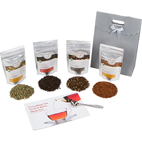 (Golden Moon Tea - Tea Gift Set | 100% USDA Organic Loose Tea Gift Set | Robust Smooth Taste, No Bitterness! 48 Servings in 4 Popular All Natural Flavors | Plus Free Perfect Portion Teaspoon)