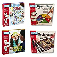 Parker Brothers 4-Pack Family Board Games - Climb and Slide - Brain Warp - Mystery Game - Head Hintz