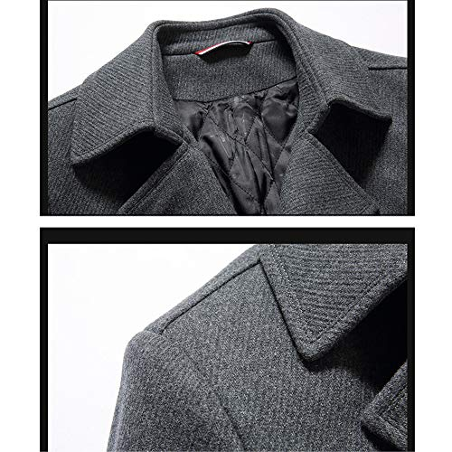 Black Long Men's Jacket Breasted Warm Woolen Medium Business Trenchcoats Lapel Overcoat Single Coats Outerwear Sleeve Windproof Long Bwaq5w