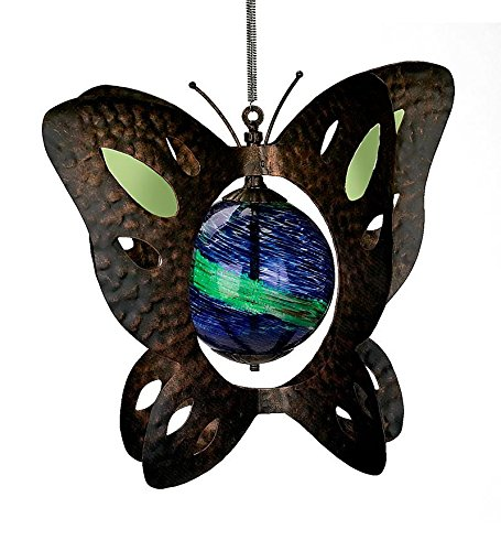 Butterfly Wind Spinner with Glowing Solar Glass Globe