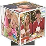 """Clear Spinning Photo Cube with Silver Base, Holds Five 3.5"""" x 3.5"""" Photos"""