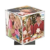 Clear Spinning Photo Cube with Silver Base, Holds Five 3.5' x 3.5' Photos