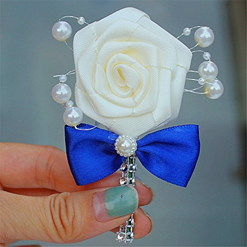 Wedding Corsage Groom Boutonniere Cream Ribbon Rose Flower Crystal Rhinestone Pearl Beaded Brooch with Bowknot Sapphire, Pack of 1 (Brooch Flower Sapphire Crystals)