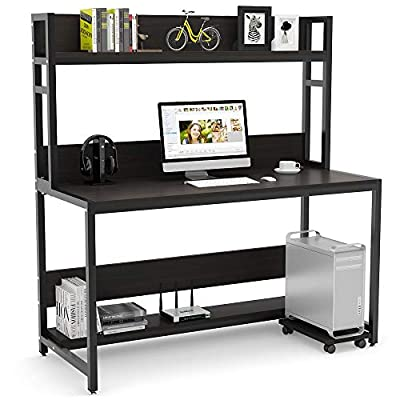 Tribesigns 55 Inches Large Computer Desk with Hutch, Modern Writing Desk with Bookshelf, PC Laptop Study Table Workstation for Home
