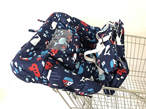 Baby Shopping Cart Cover & High Chair Cover, Universal Size, Harness System, Soft Comfort Cushioning, Protects Against Germs (Dolphin Blue) by SEALOVESFLOWER