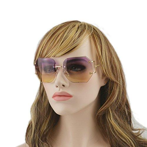 MINCL/2016 HOT RIMLESS SUNGLASSES WOMAN CLEAR LENS (gold, - High Women's Sunglasses End
