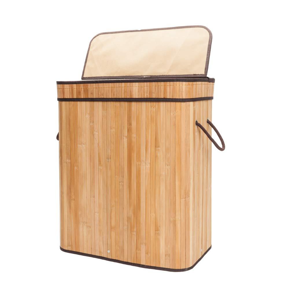 Qao Dan 竹製ランドリーハンパー 汚れた衣類収納バスケット 折りたたみ式 汚れた衣類 箱 蓋ハンドル 取り外し可能な裏地 長方形 B07H2F7TRK