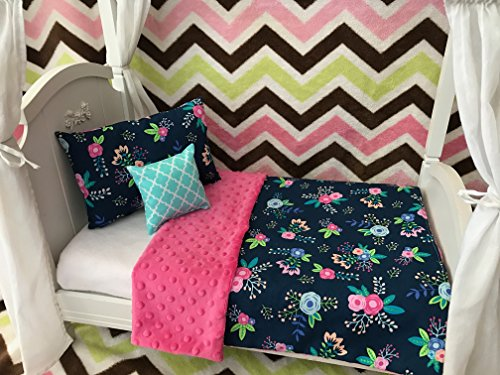 Daydream Doll Boutique 18 Inch Doll 3 Pc. Bedding Set fits American Girl, Navy Floral, Made in the ()