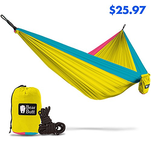 Bear Butt #1 Double Hammock - A Start Up Company With Top Quality Gear At Half The Cost Of The Other Guys (Yellow / Sky Blue / Pink)