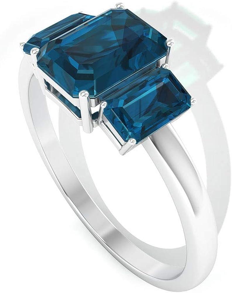 Anillo de Londres con forma octogonal de 2,05 quilates, con topacio azul, declaración de tres piedras para mujer, anillo de oro con certificación SGL, 18K Oro