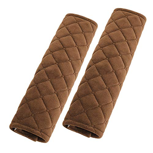 Alusbell Car Seatbelt Pads,Soft Cotton Blend Shoulder Strap Belt Covers Harness Protector For Cars/Bags/Cameras/,Perfect Stress Relax for Your Neck (Brown)