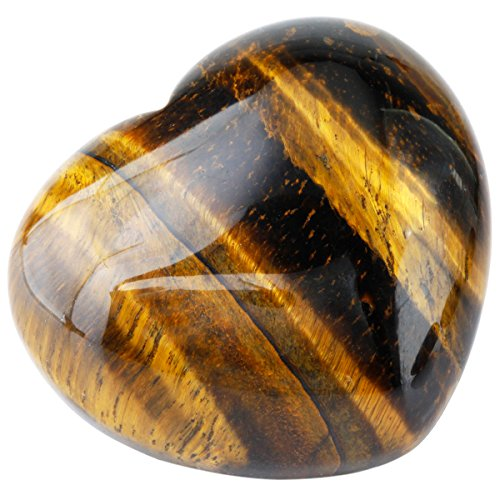 Polished Crystal Stone (SUNYIK Natural Tiger's Eye Stone Carved Puff Heart Pocket Stone,Healing Palm Crystal Pack of 1(1.6