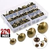 Hilitchi 280-Pieces [4-Size] Antique Brass Tacks Bronze Nail Pins Upholstery Tacks Furniture Thumb Tack Pins Assortment Kit - Size Include: 7/16'' 9/16'' 5/8'' 3/4''