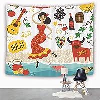 Tapestry,Hippie Tapiz,tapiz de pared con decoración para el hogar,España, España Lugares emblemáticos y símbolos Flamenco Barcelona Españo,para picnic Mantel o Toalla de Playa redonda 130 x 150 cm: Amazon.es: Hogar