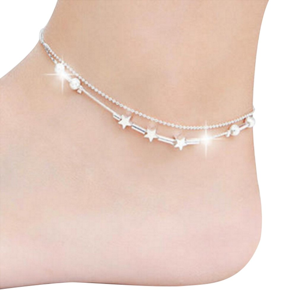 Chakil 1 pcs Fashion Bracelet Charm Silver Expandable Wire anklets Chain for Womens Girls Christmas Wedding Party Jewellery