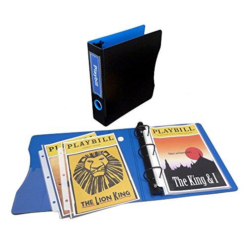 Binder Set for Playbills, 2 Keepfiling 5.5 x 8.5 D-Ring Binder, 1 pack of 5.5 x 8.5 Sheet Protectors (50 sheets) (Black/Sapphire Blue)