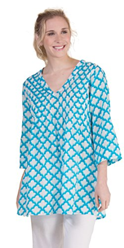 (Peppermint Bay Tunics Pintucked Cotton Beach Cover Up in Allure (Blue/White, Medium (10-12)))