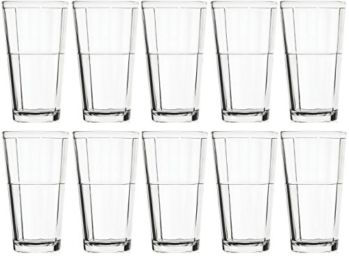 Circleware Pavillion Set of 10 Drinking Glasses, 17 Ounce
