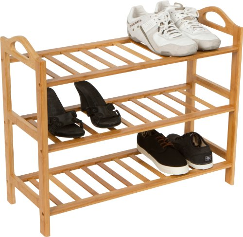 UPC 704660919862, Trademark Innovations-3 Shelves-100-Percent Natural Bamboo Shoe Rack