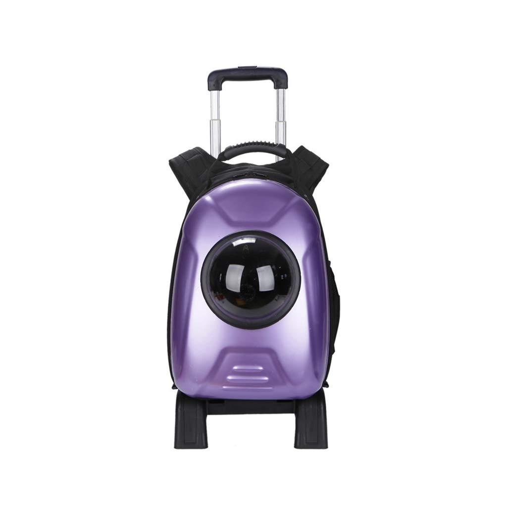 Purple GWM Pet Trolley Case Capsule Pet Function Portable Case Bag PP Material Cat And Dog Double Back Pet Pack (color   bluee)