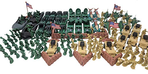 (Toy Essentials 222 Pieces Army Playset with Trucks Jeeps Jets Missiles)