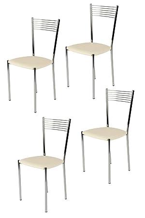 Tommychairs sillas de Design - Set de 4 sillas Elegance de Cocina, Comedor, Bar y Restaurante con Estructura en Acero Cromado y Asiento tapizado en ...