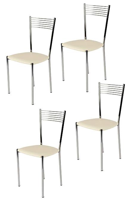 Tommychairs Set 4 sedie Elegance per Cucina Bar salotti e Sala da Pranzo,  con Robusta Struttura in Acciaio Cromato e Seduta Imbottita e Rivestita in  ...