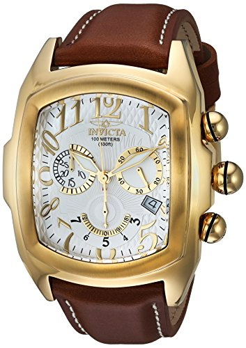 Lupah Leather (Invicta Men's 'Lupah' Quartz Stainless Steel and Leather Casual Watch, Color:Brown (Model: 13693))