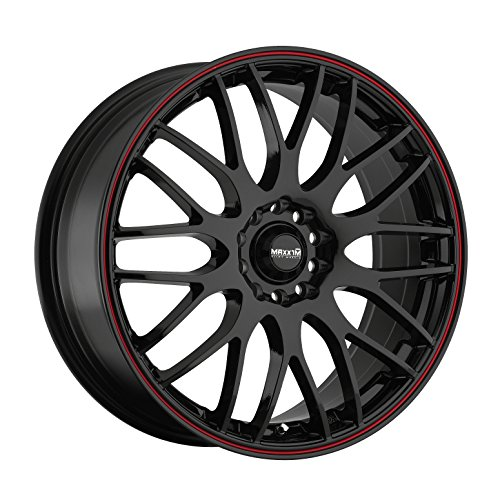 - Maxxim Maze Gloss Black with Red Stripe Wheel (16x7-Inch)