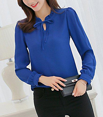 Fox Lunga Camicetta T shirts Maglie Blu Manica E Autunno Tops Casual Donna ulein Shirts Moda Chiffon A Bluse Fr Primavera RUw5qSvnf4