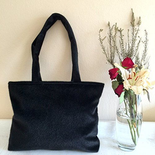 5f96532f41e9 Amazon.com  Black Fur Tote Bag