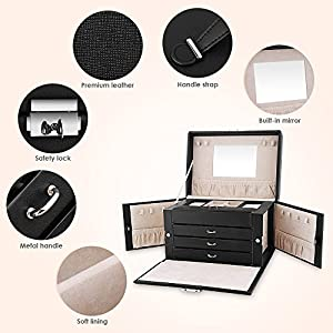 EleLight Jewelry Box Leather Jewelry Case Organizer, 4 Layers Lockable Travel Jewelry Storage Display Case with Mirror Velvet for Storage Necklaces, Bracelets, Watches, Earrings, Rings