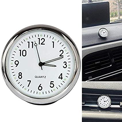 Acecharming High Accuracy Car Dashboard Clock Classic Table Mini Quartz Clock Car Onboard Small Round Luminated Clock (Size: 40 x 40 x 40 mm), White Acediscoball 71283