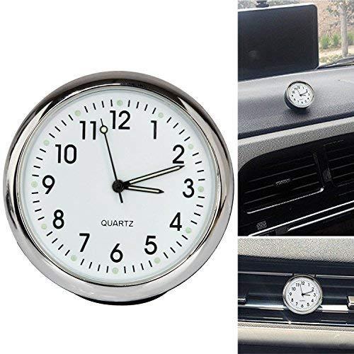 Acecharming High Accuracy Car Dashboard Clock Classic Table Mini Quartz Clock Car Onboard Small Round Luminated Clock (Size: 40 x 40 x 40 mm),White