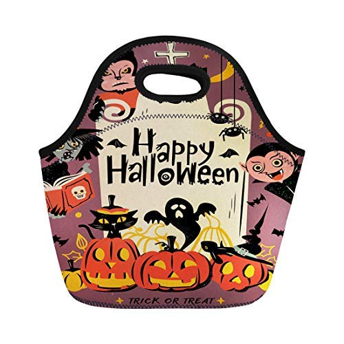 Vontuxe Insulated Lunch Tote Bag Happy Halloween Wolfman Spooky Vampire and Witch Surrounding the Outdoor Picnic Food Handbag Lunch Box for Men Women Children ()