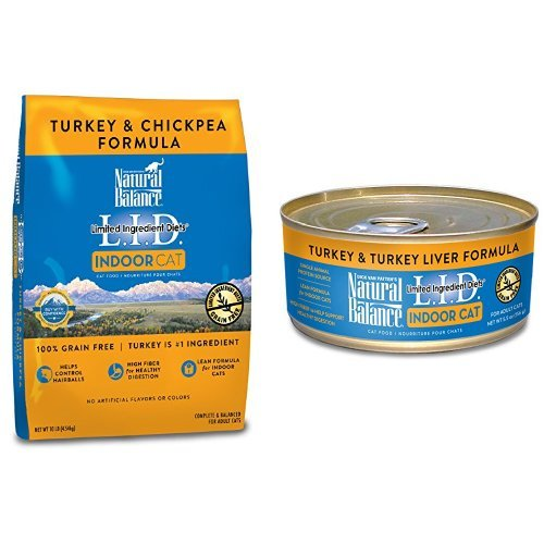 Natural Balance Limited Ingredient Diets For Indoor Cats, Turkey & Chickpea, Bundle: 10-Pound Bag Dry Cat Food And 24/5.5-Ounce Cans Wet Cat Food by Natural Balance