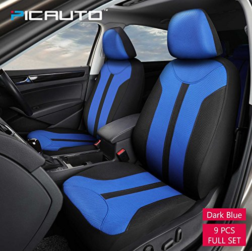 PIC AUTO Universal Fit Full Set Mesh Fabric Car Seat Cover, Dark Blue