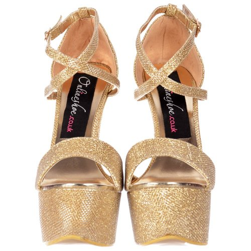 Heel Partei Stiletto Platform Riemchen High Gold Damen Glitter Schuhe Cross Onlineshoe Over Frauen 0qC0zO