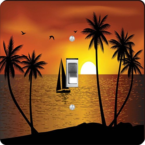 Rikki Knight Silhouette Boat Palm Trees on Sunset Design Single Toggle Light Switch - Silhouette Palm