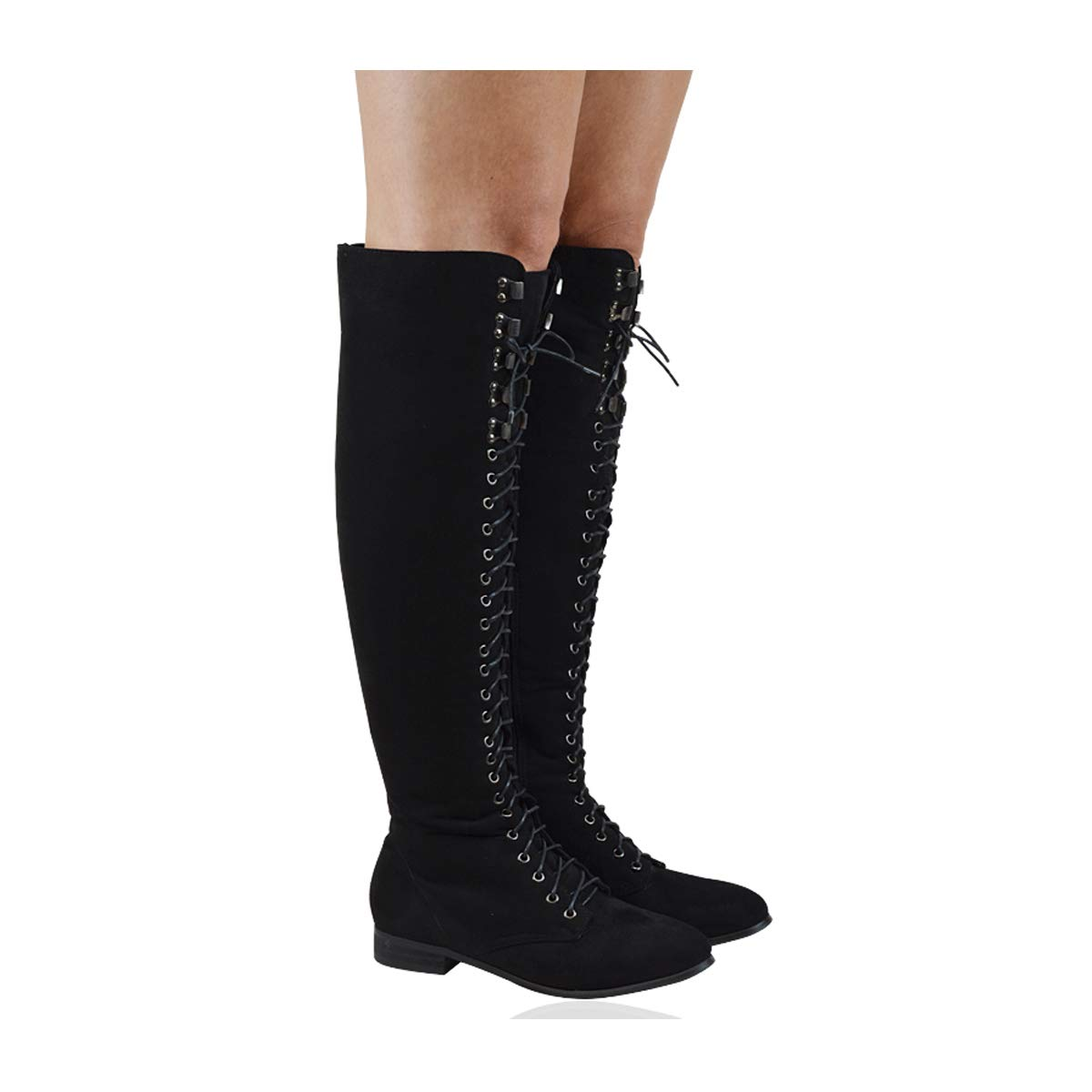 da7f4908ce89 ESSEX GLAM Womens Lace Up Over The Knee Boots Ladies Black Flat Heel Combat  Biker Riding Shoes Size 3-8  Amazon.co.uk  Shoes   Bags