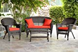 Jeco W00201-G-FS018 4 Piece Wicker Conversation Set with Red Orange Cushions, Espresso