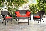 Jeco W00201-G-FS018 4 Piece Wicker Conversation Set with Red Orange Cushions, Espresso