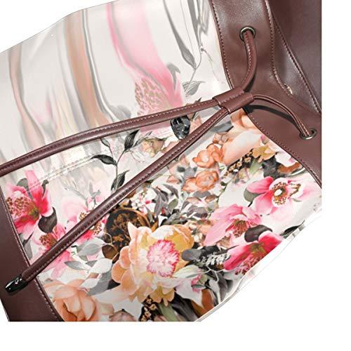 Kvinnor PU-läder blommiga blommor design konst ryggsäck handväska resa skola axelväska ledig dagväska