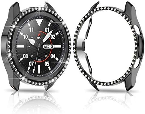 Samsung Galaxy Watch 3 41mm Hard Diamond Case,JZK Bling Crystal Diamonds Protective Cover PC Plated Bumper Frame Women Samsung Galaxy Watch 3 41mm SM-R850 Accessories,Black+Silver+Clear 518yUrBfPTL