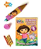 Nickelodeon Dora The Explorer Coloring Activity Book for Girls Bundle Set, 1 Coloring Book, 1 Crayon Case Pencil Holder, 1 Box of 12 jumbo Colored Crayons
