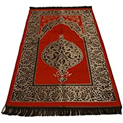 Luxury Ottoman Stamp Islamic Prayer Rug Janamaz Sajjadah Muslim Turkish Prayer Rug (Red)