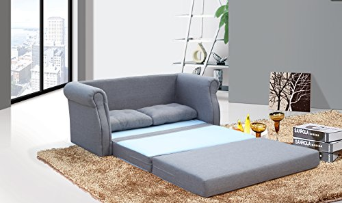 US Pride Furniture Modern Reversible Fabric Loveseat & Sofa Bed, Grey