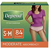 Depend FIT-FLEX Incontinence Underwear for Women, Disposable, Moderate Absorbency, S/M, Blush, 84 Count (4 Packs of 21)